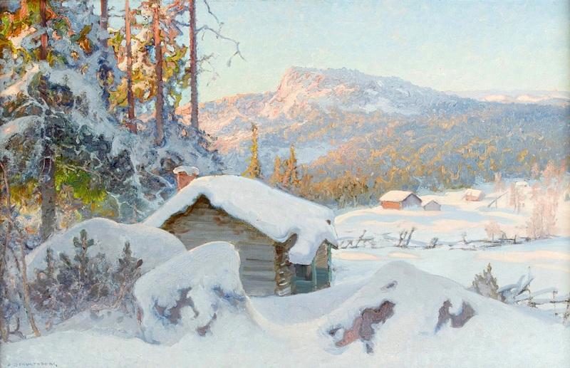 Заснеженное горное пастбище  печать на холсте, натянут Шультцберг Ансельм - фото 1