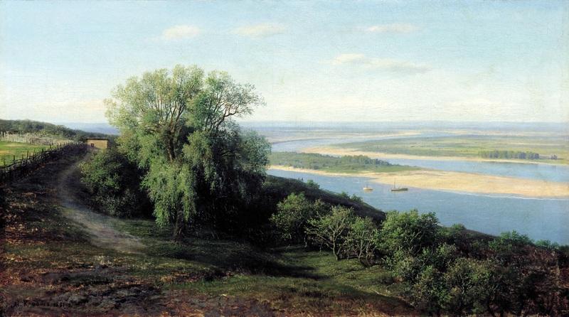 Волга под Симбирском  печать на холсте, натянут Клодт Михаил - фото 1