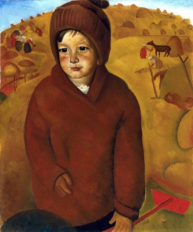 Мальчик на сенокосе  печать на холсте, натянут Григорьев Борис - фото 1