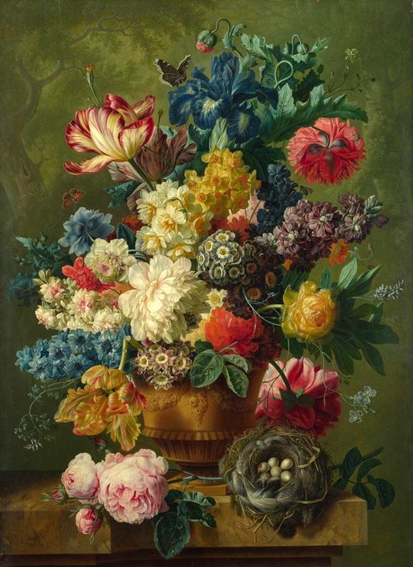 Цветы в вазе  печать на холсте, натянут Хейсум Ян ван - фото 1
