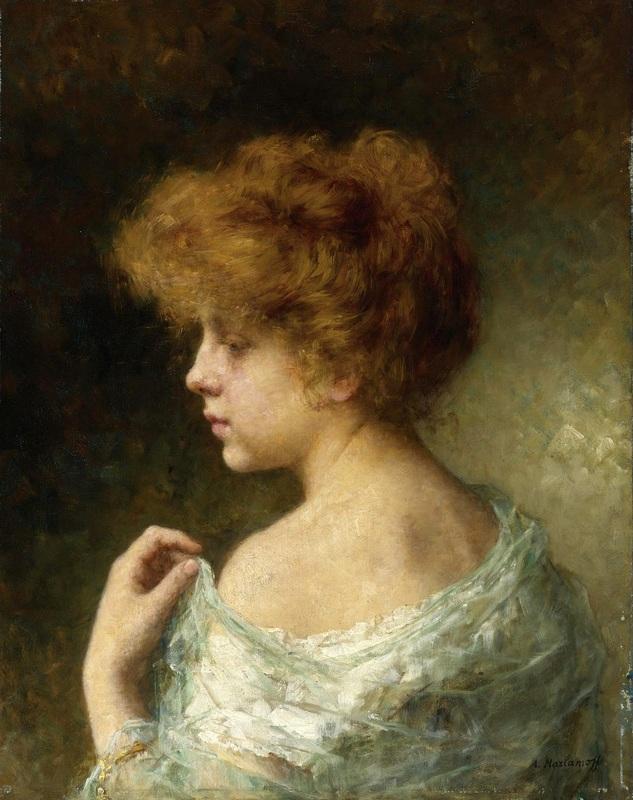Девушка с рыжими волосами  печать на холсте, натянут Харламов Алексей - фото 1