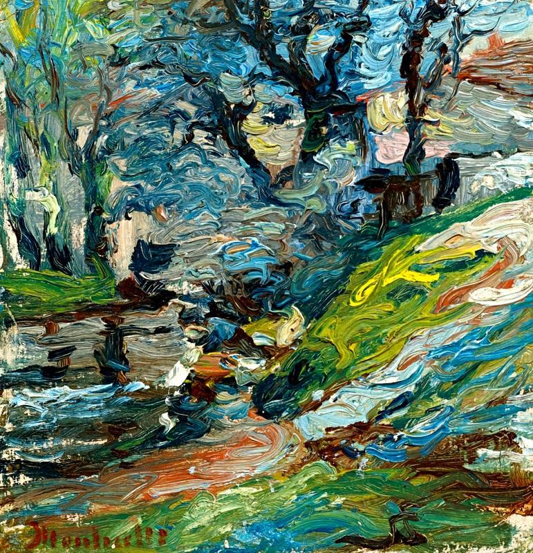 На берегу реки, Марсель  печать на холсте, натянут Монтичелли Адольф Жозеф Тома - фото 1