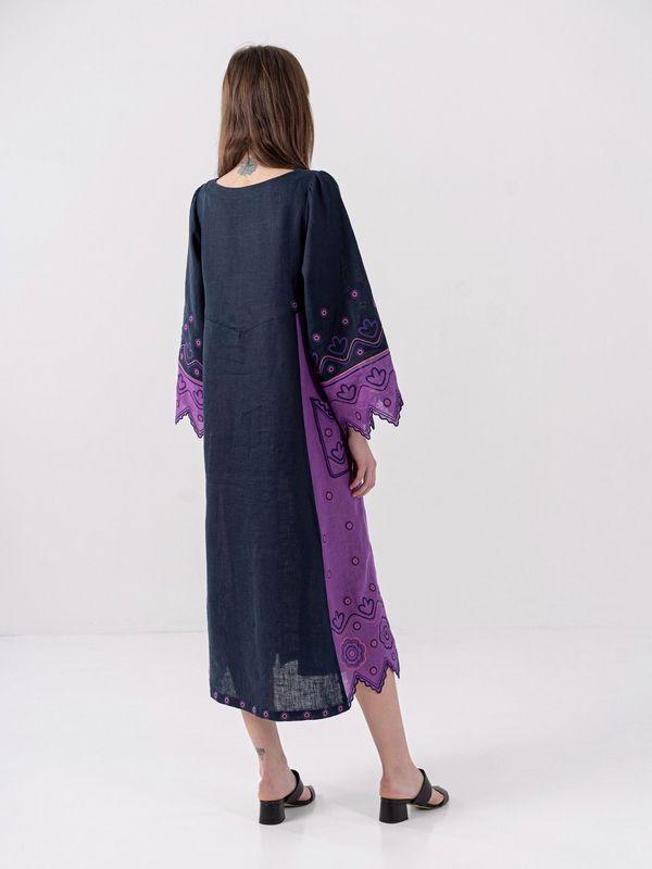 Льняное платье темно-синего цвета Nizhnist Violet Синий Ткань - лен  Рост модели ЕтноДім - фото 8