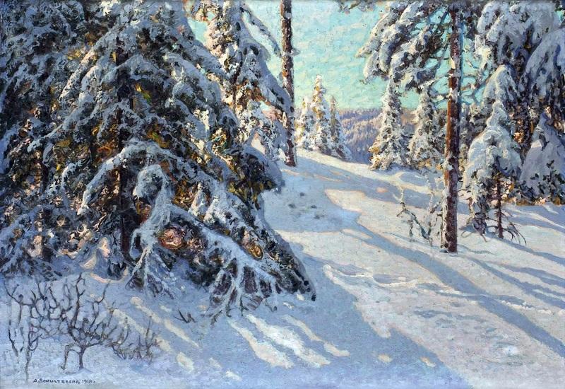 Солнце в лесу, мотив из Сторхейдена  печать на холсте, натянут Шультцберг Ансельм - фото 1