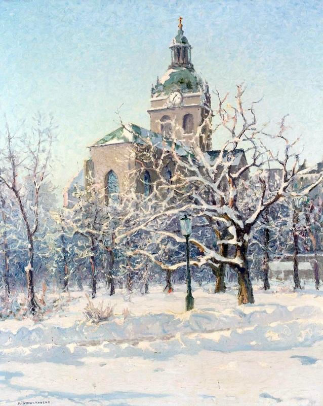 Стокгольм. Церковь Святого Якоба в зимнем облачении  печать на холсте, натянут Шультцберг Ансельм - фото 1