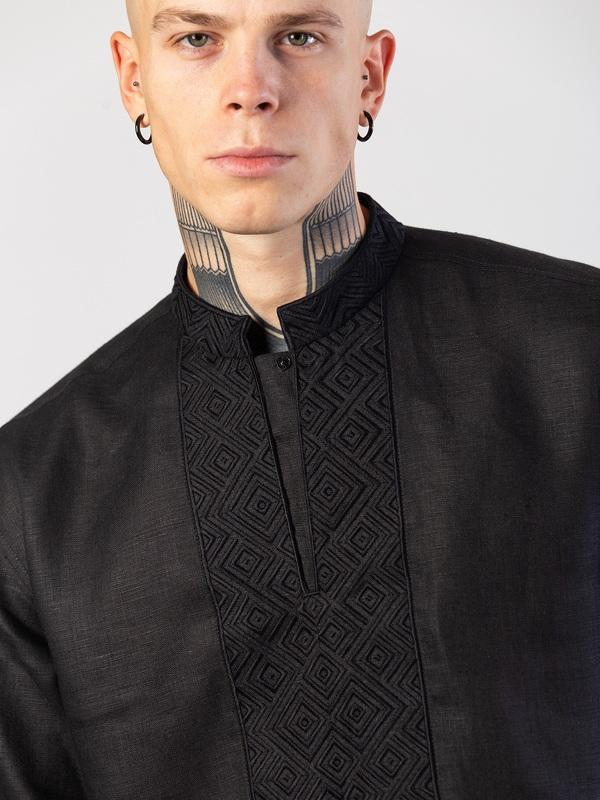 Мужская черная вышиванка с орнаментом в тон Apollo Black Черный Ткань - лен (черный) Тех ЕтноДім - фото 5