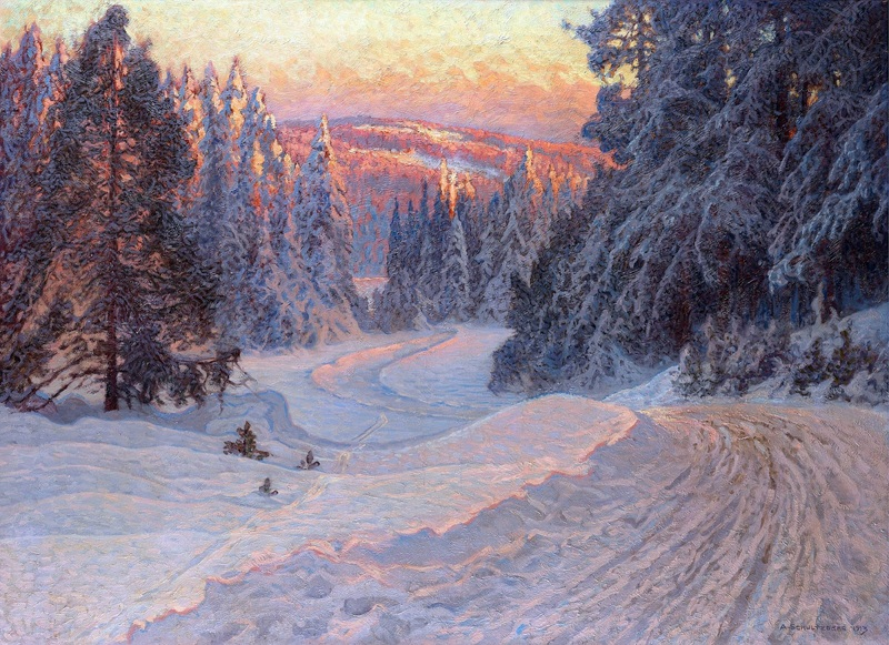 Зимний вечер на лесной дороге, Даларна  печать на холсте, натянут Шультцберг Ансельм - фото 1