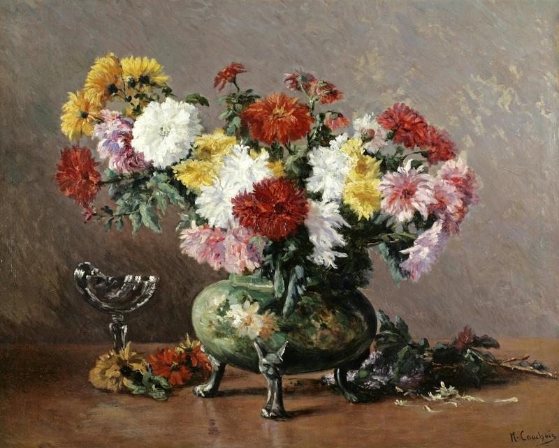 Натюрморт с хризантемами в фарфоровой вазе  печать на холсте, натянут Кошуа Эжен Анри - фото 1