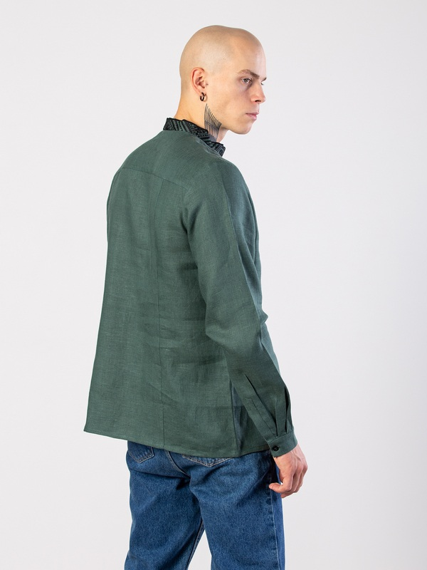 Мужская рубашка из зеленого льна с геометрической вышивкой Troyan Зеленый Ткань - лен (зеленый) Те ЕтноДім - фото 5