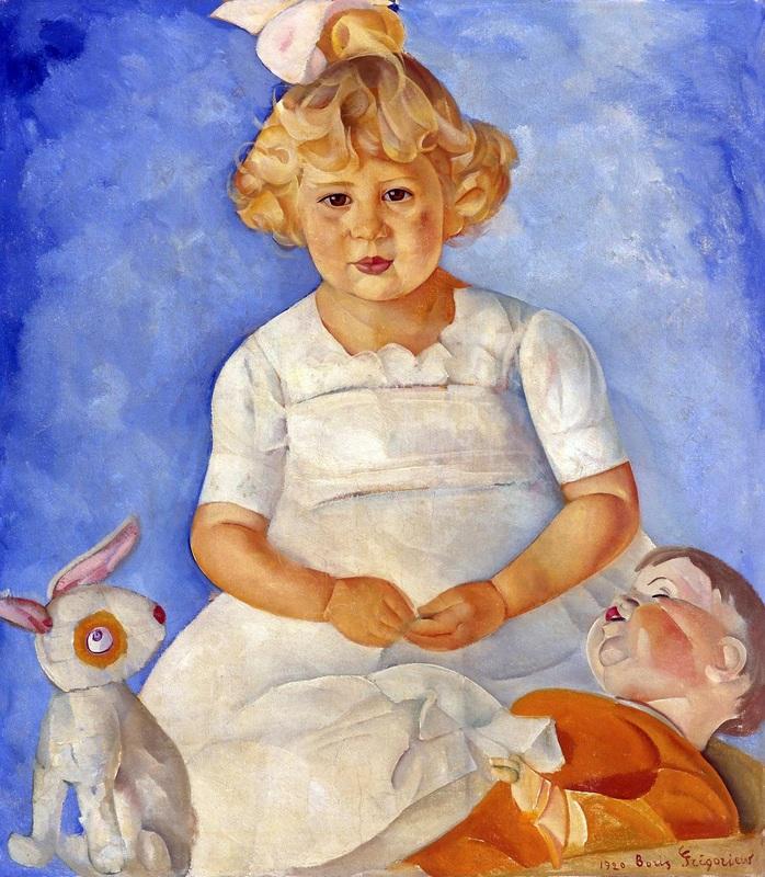 Портрет девочки с куклами  печать на холсте, натянут Григорьев Борис - фото 1