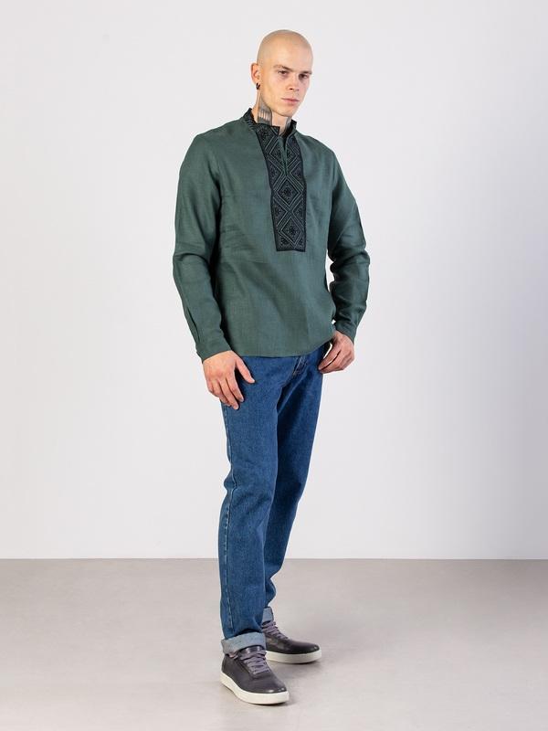 Мужская рубашка из зеленого льна с геометрической вышивкой Troyan Зеленый Ткань - лен (зеленый) Те ЕтноДім - фото 3
