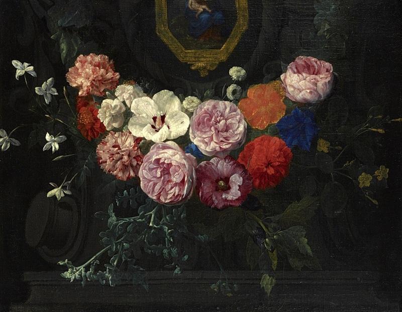 Гирлянда цветов, окружающая картуш с Мадонной и младенцем  печать на холсте, натянут Верендаль Николас ван - фото 1
