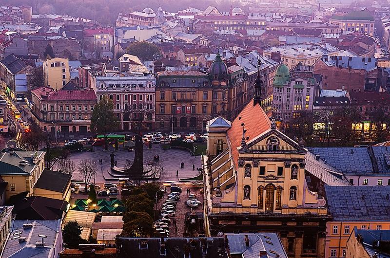 Сумерки в городе Львове  печать на холсте, натянут UkrainArt - фото 1