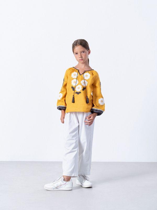 Желтая вышиванка для девочки Sunny Kids Желтый Ткань - лен Техника испо ЕтноДім - фото 2