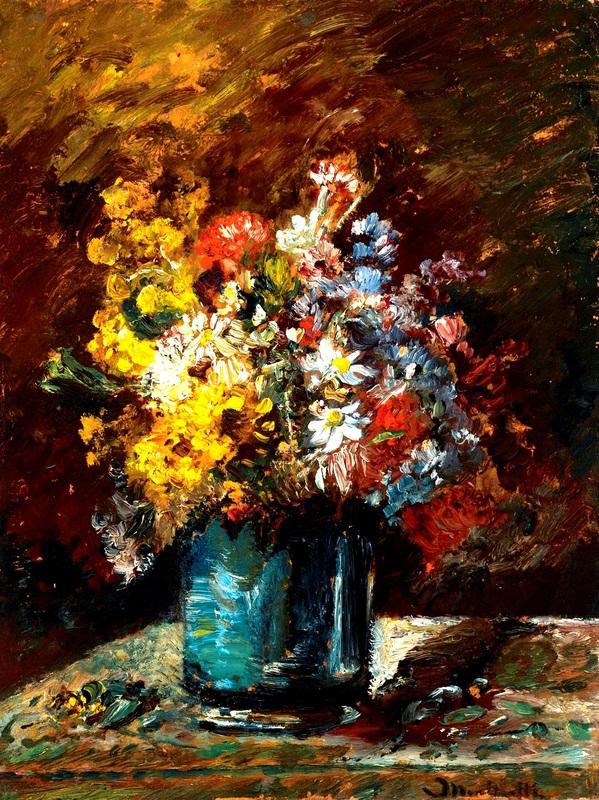 Цветы  печать на холсте, натянут Монтичелли Адольф Жозеф Тома - фото 1