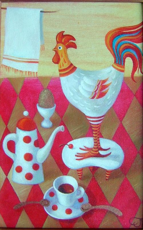 Натюрморт с петушком  холст, масло Падовская Ольга - фото 1