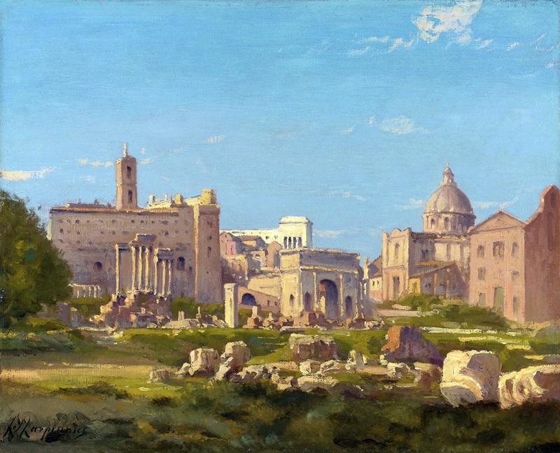 Le Forum romain  печать на холсте, натянут Арпиньи Анри Жозеф - фото 1