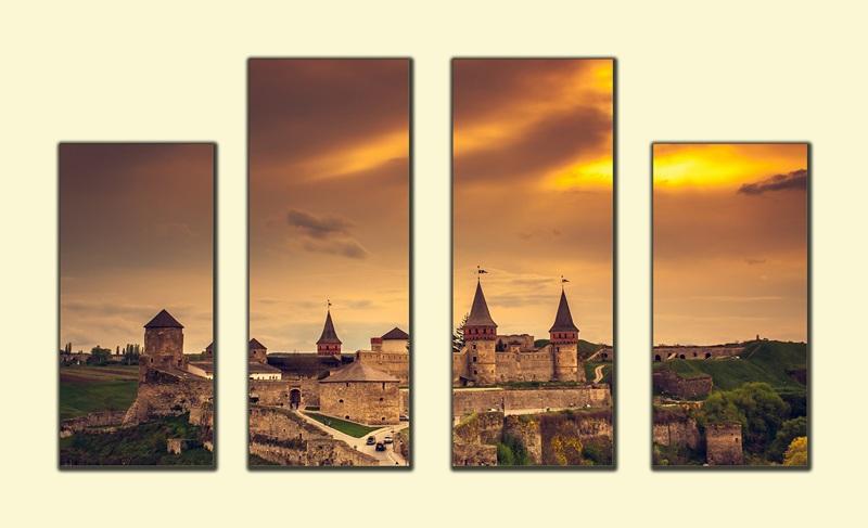 Замок в Каменце-Подольском весной №1  печать на холсте, натянут UkrainArt - фото 1