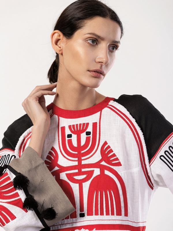 Льняное платье с аппликацией на груди Icon Red Белый Ткань - лен 100% Вышивка ЕтноДім - фото 2