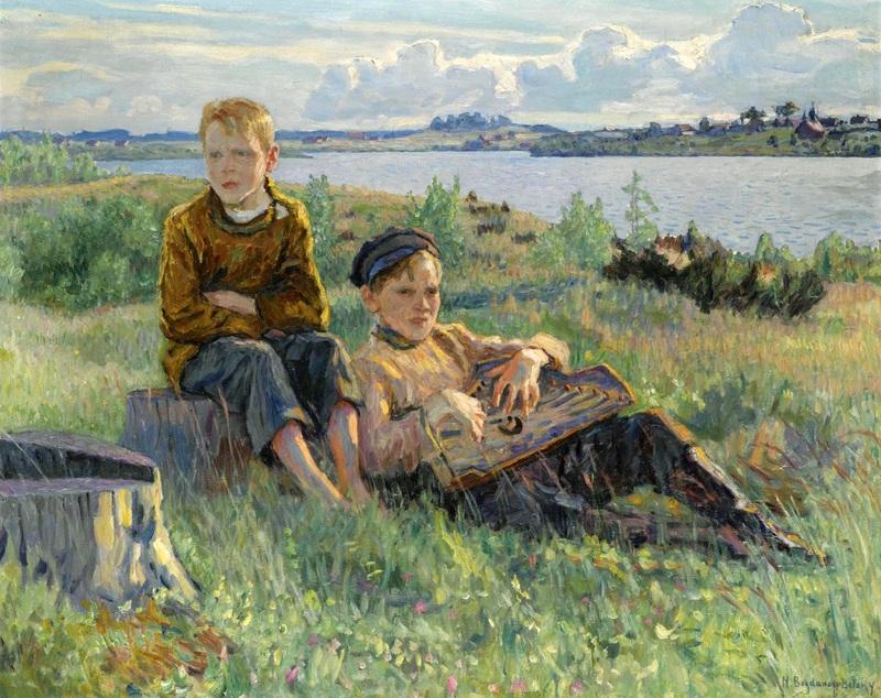 Два мальчика  печать на холсте, натянут Богданов-Бельский Николай - фото 1