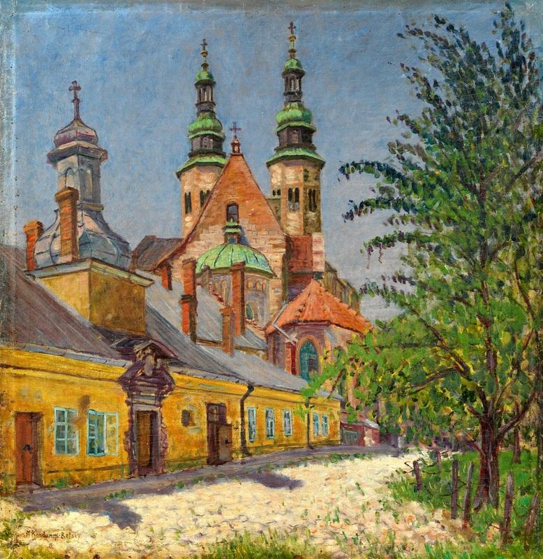 Вид на церковь  печать на холсте, натянут Богданов-Бельский Николай - фото 1