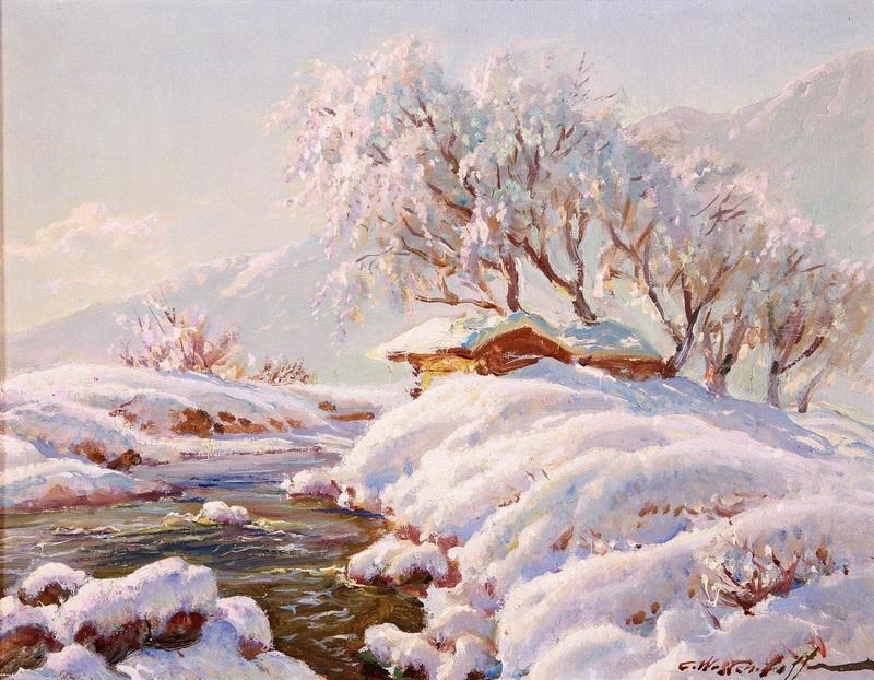 Дом у реки зимой  печать на холсте, натянут Вещилов Константин - фото 1