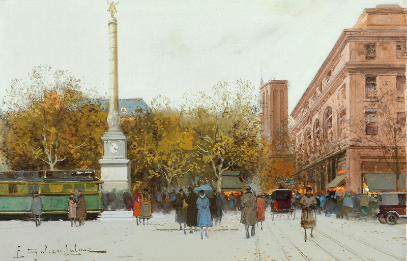 Площадь Шаталье №3  печать на холсте, натянут Гальен-Лалу Эжен - фото 1