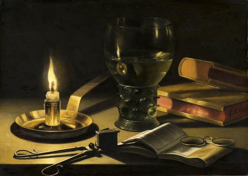 Натюрморт с горящей свечой  печать на холсте, натянут Клас Питер - фото 1