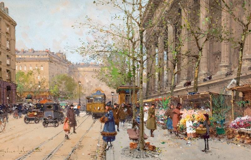 Цветочный рынок площади Мадлен №2  печать на холсте, натянут Гальен-Лалу Эжен - фото 1