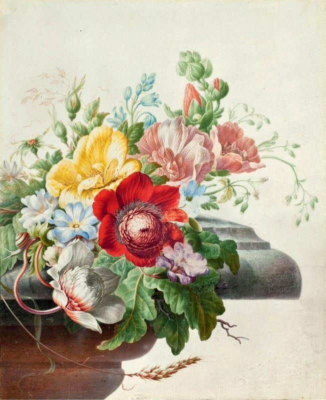 Натюрморт с цветами на каменном выступе  печать на холсте, натянут Хенстенбург Герман - фото 1