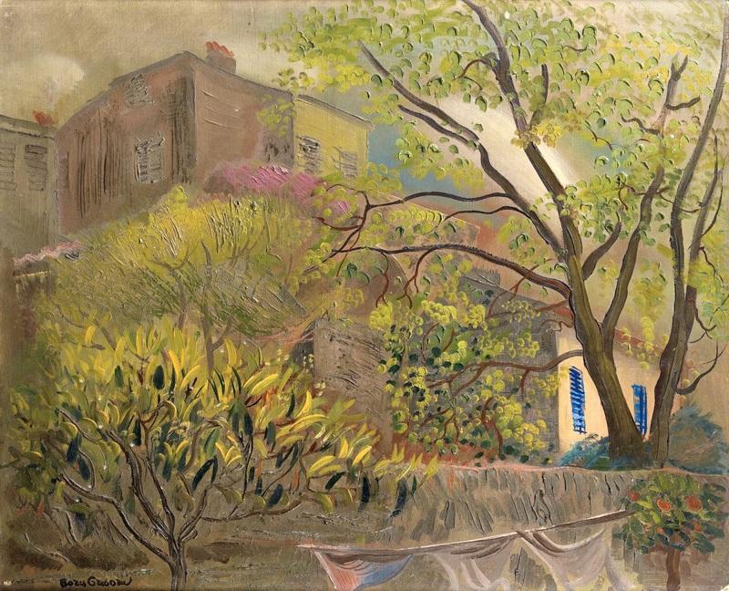 Дом с розовой крышей  печать на холсте, натянут Григорьев Борис - фото 1