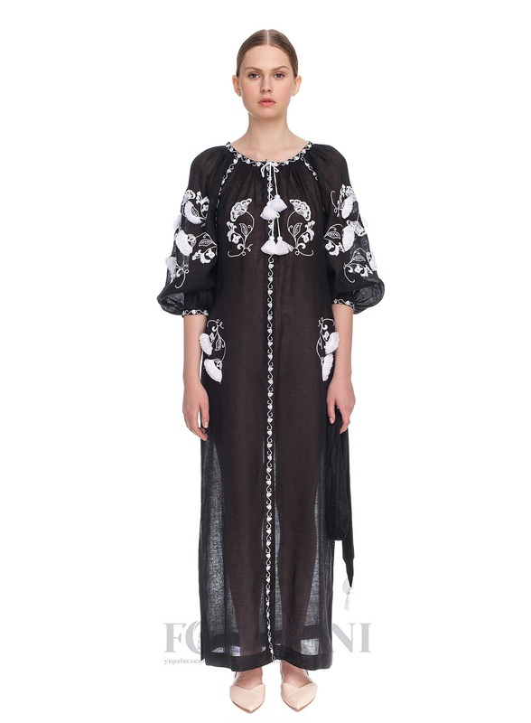 Туника-вышиванка «Жасмин» Черный высококачественный лен FOBERINI - фото 1