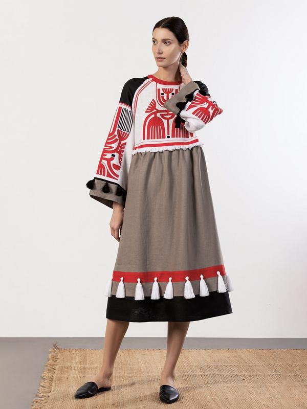 Льняное платье с аппликацией на груди Icon Red Белый Ткань - лен 100% Вышивка ЕтноДім - фото 7
