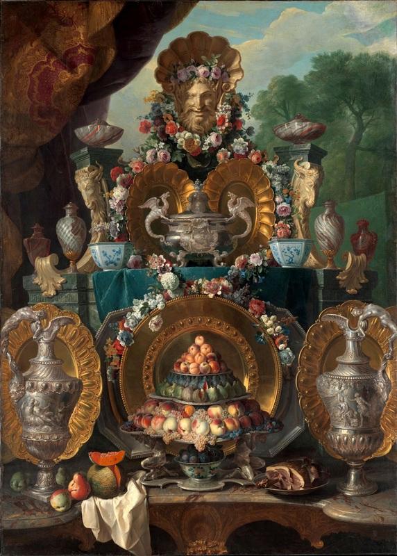Натюрморт с серебряной посудой  печать на холсте, натянут Депорт Александр Франсуа - фото 1