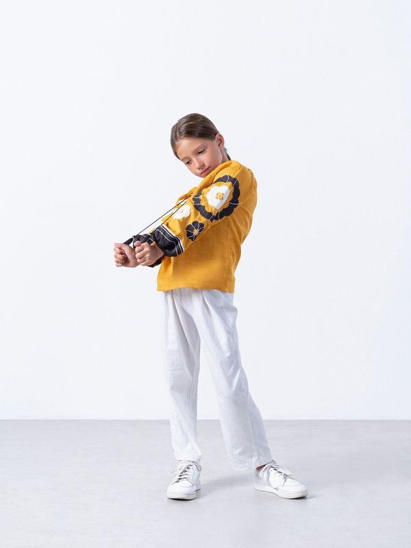 Желтая вышиванка для девочки Sunny Kids Желтый Ткань - лен Техника испо ЕтноДім - фото 6