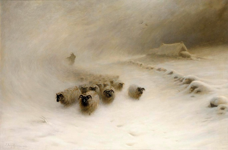 Стая овец в зимней метели  печать на холсте, натянут Фаркухарсон Джозеф - фото 1