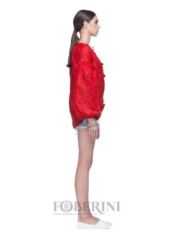 """Вышиванка """"Total Red"""" Красный Лён 100% FOBERINI - фото 4"""