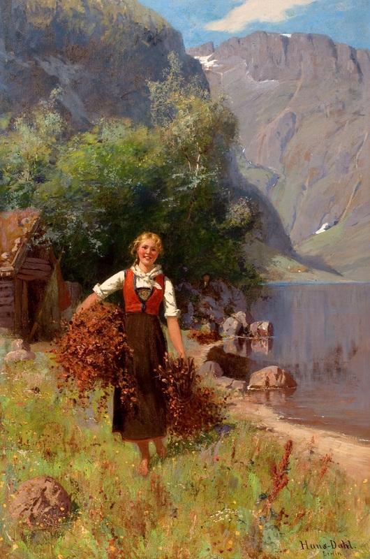 Девушка в пейзаже Фьордов  печать на холсте, натянут Даль Ханс - фото 1
