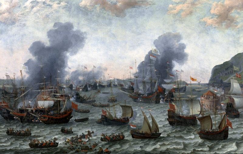 Победа голландцев над испанцами около Гибралтара 25 апреля 1607  печать на холсте, натянут Виллартс Адам - фото 1