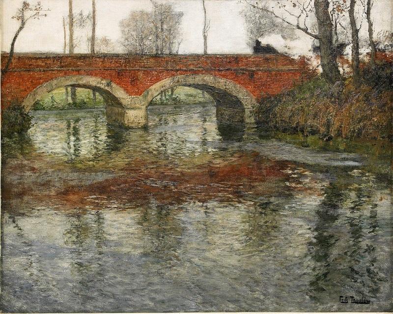 Речной пейзаж с каменным мостом  печать на холсте, натянут Таулов Фриц - фото 1