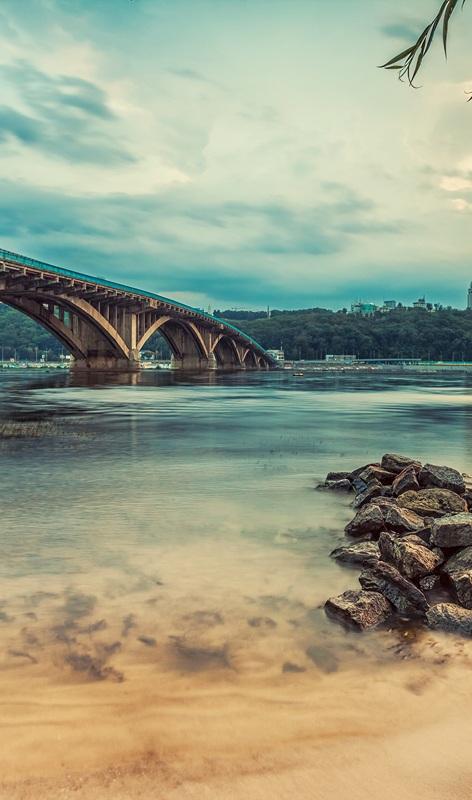 Киевский метрополитен. Мост в вечернее время №2  печать на холсте, натянут UkrainArt - фото 3