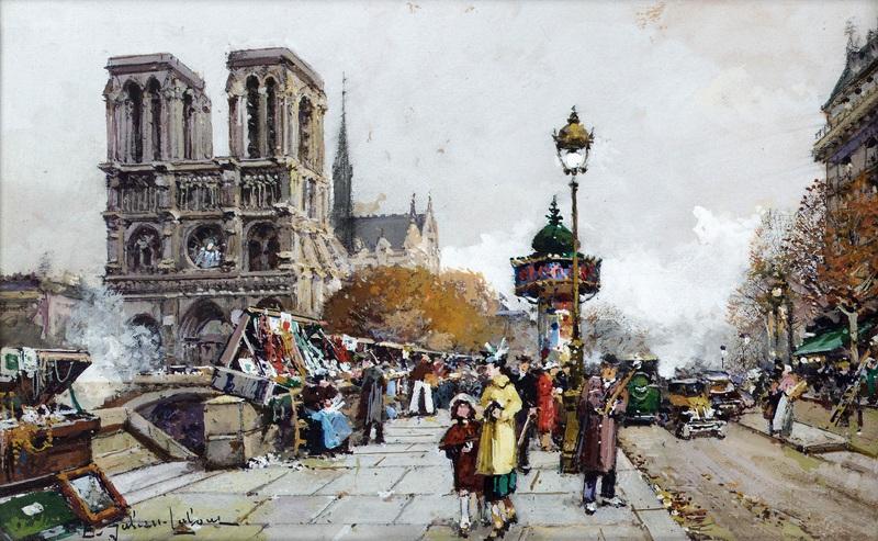 Нотр-Дам вид на Сент-Мишель, Париж  печать на холсте, натянут Гальен-Лалу Эжен - фото 1