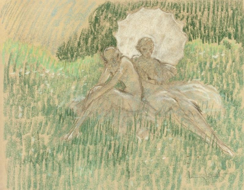 Белый зонтик  печать на холсте, натянут Икар Луи - фото 1