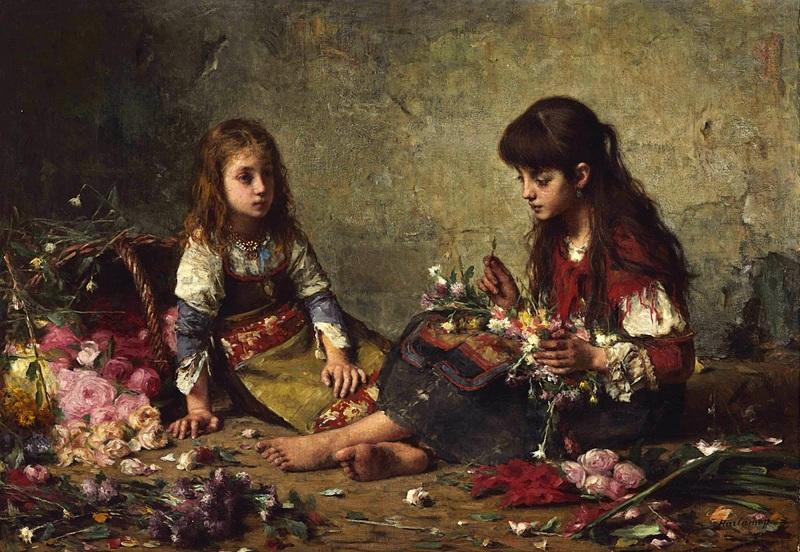 Две девушки, разбирающие цветы  печать на холсте, натянут Харламов Алексей - фото 1
