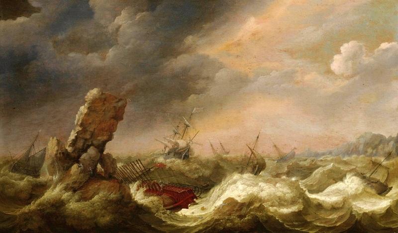 Кораблекрушение турецкого судна и другие корабли в шторм  печать на холсте, натянут Виллартс Адам - фото 1