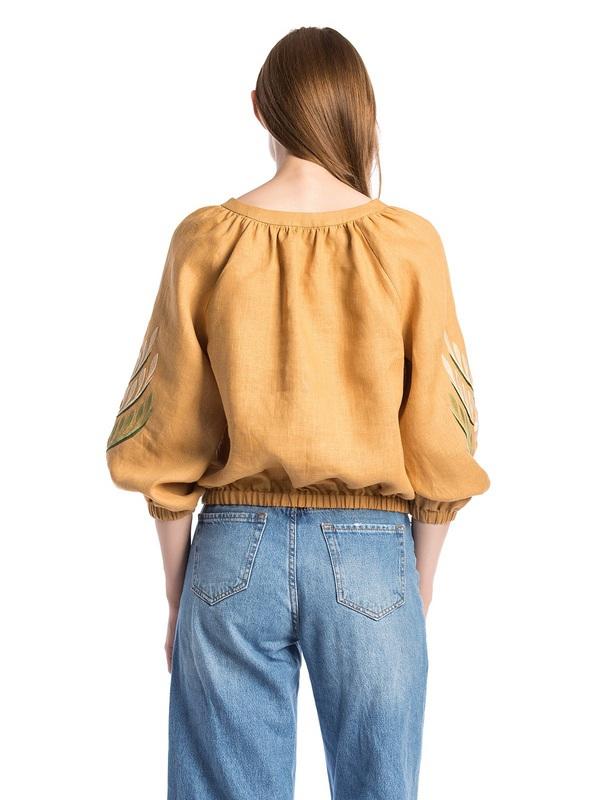 Льняная вышитая блуза на резинке Nature 2 Бежевый  Ткань - лен. Цвет – бежев ЕтноДім - фото 2