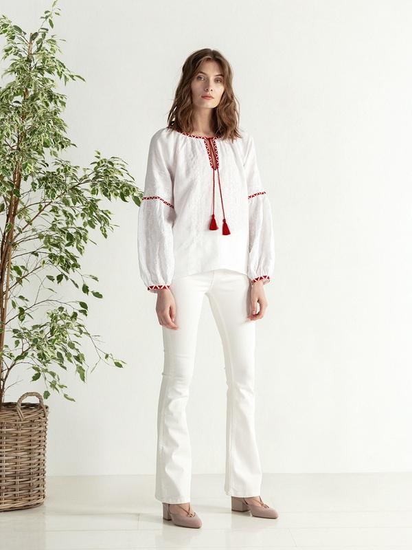 Льняная блузка с красно-белой вышивкой Elin Белый Цвет – белый Ткань – лен ЕтноДім - фото 5