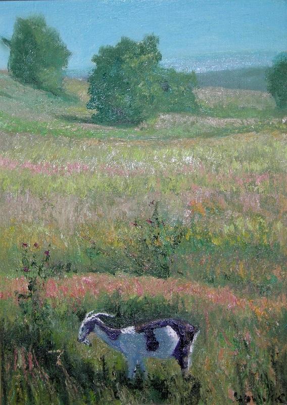 Пейзаж с козой  холст, масло Сыпняк Петр - фото 1