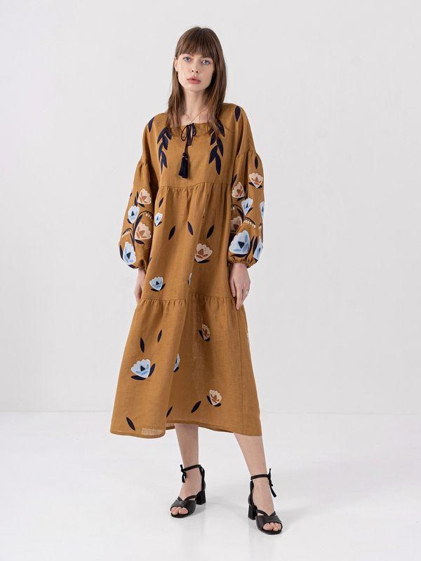 Льняное миди платье c вышивкой Kazka Brown  Ткань - лен Рост модели ЕтноДім - фото 1