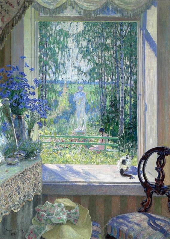 Открытое окно в сад  печать на холсте, натянут Богданов-Бельский Николай - фото 1